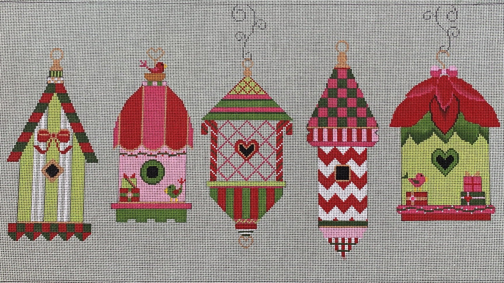 Christmas Birdhouses.Five Christmas Birdhouses With Stitch Guide