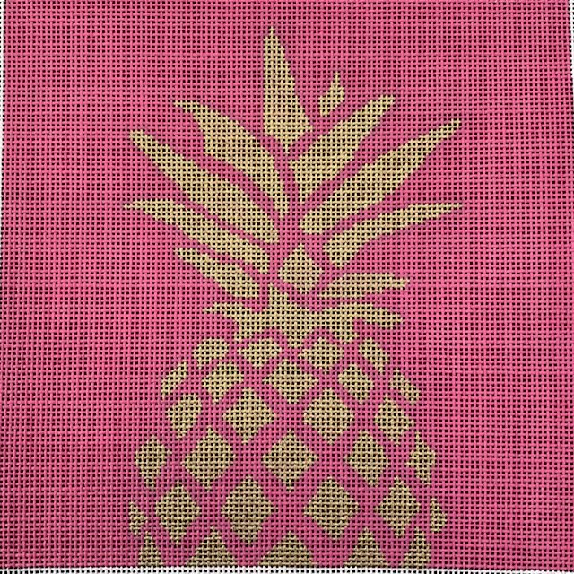 Gold Pineapple on Pink