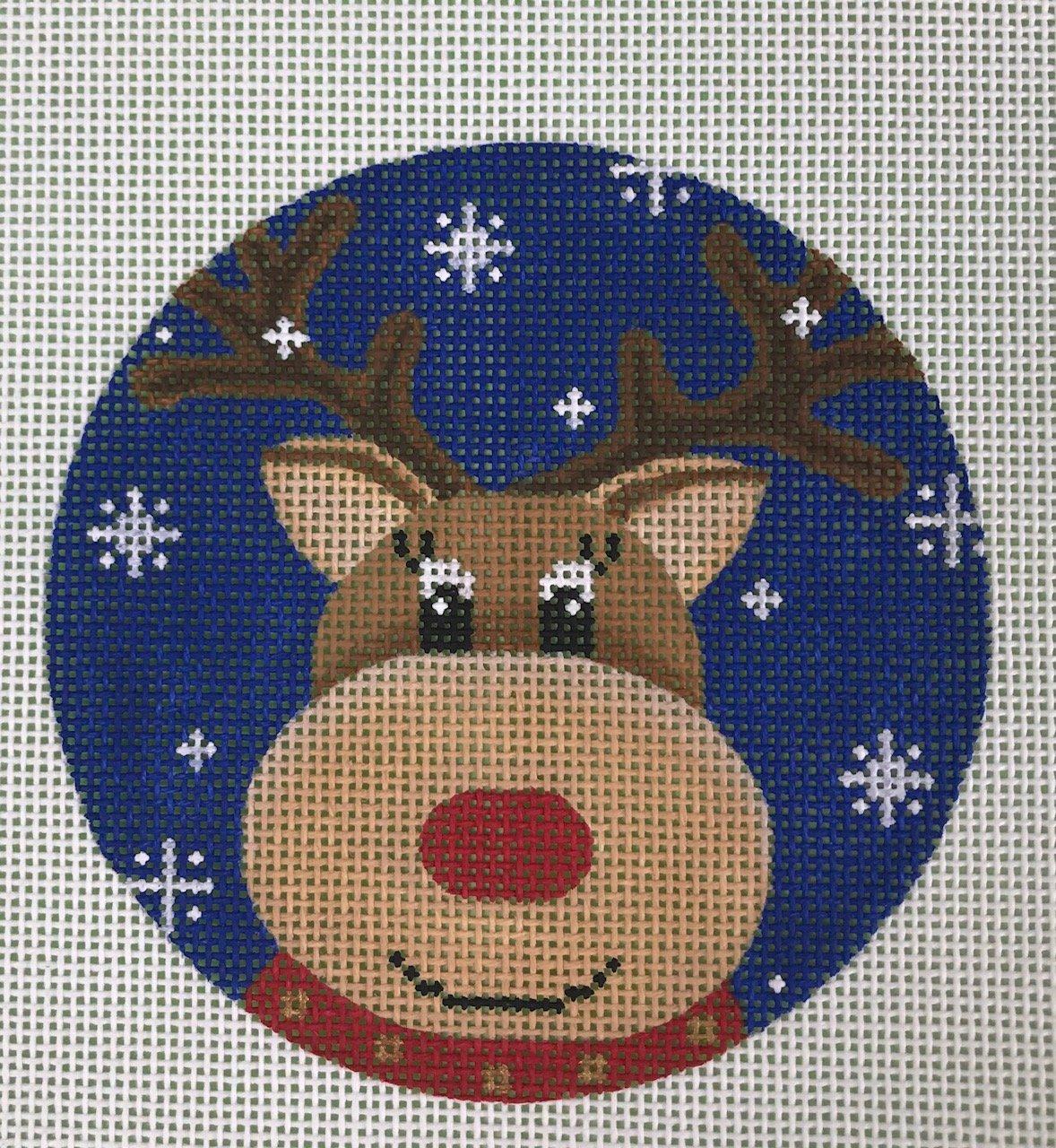 Reindeer on Blue Snowflake