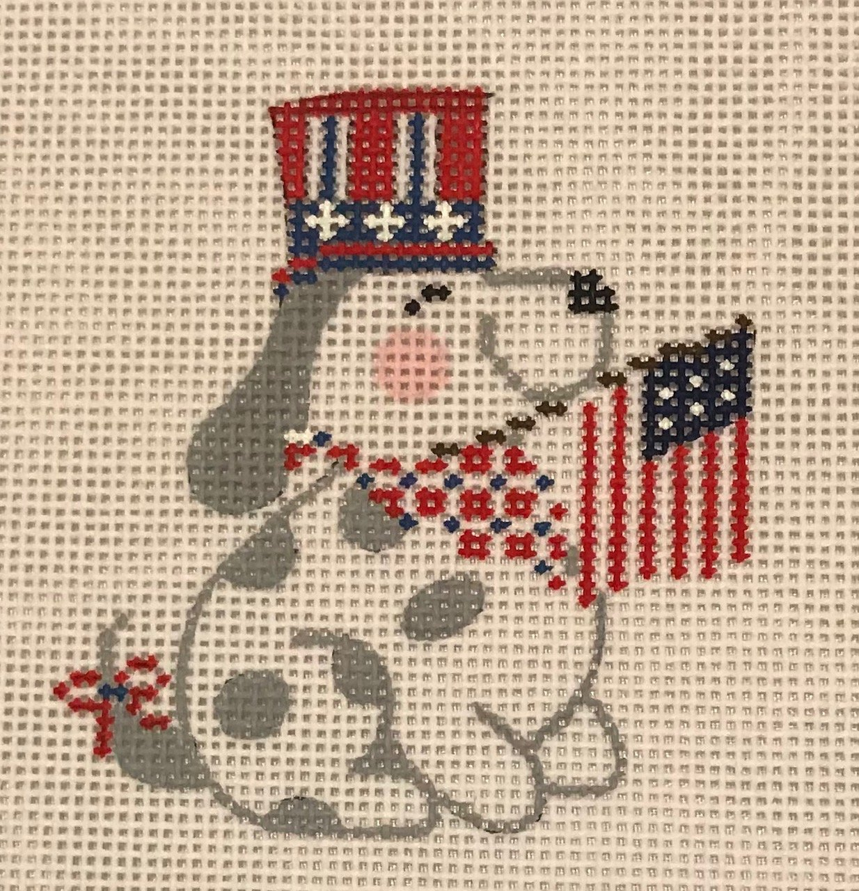 4th of July Dog with Flag with Stitch Guide