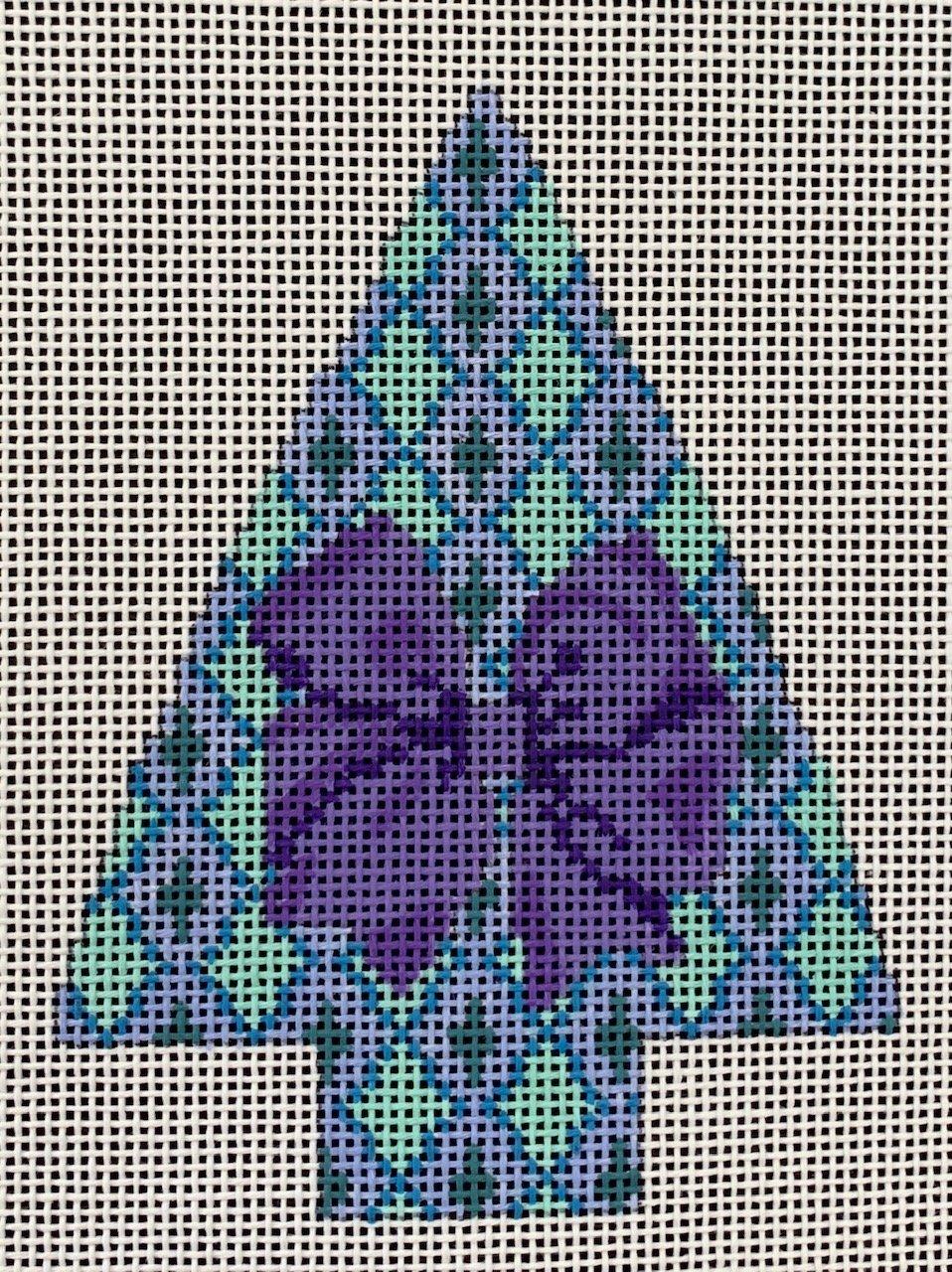 Argyle Tree with Purple Bow
