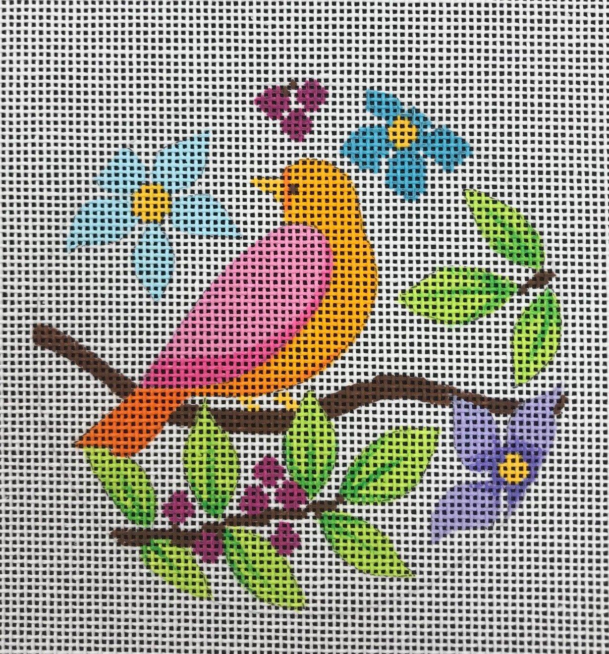Orange/Pink Bird on Branch
