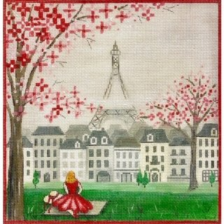 Girl and Eiffel Tower