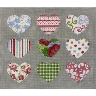 Patterned Hearts on Grey