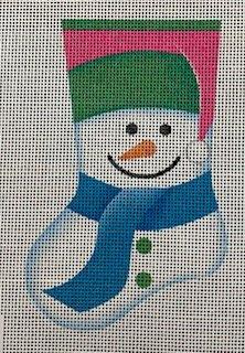 Snowman Mini Sock - Pink and Greens