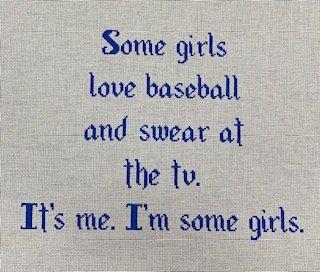 Some girls ... baseball white background/blue