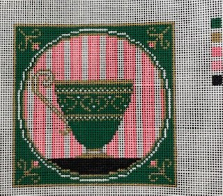 Tea Cup with Pink/Green