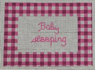 Pink Gingham Baby Sleeping Sign