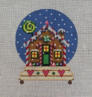 Gingerbread House Snowglobe with Hearts
