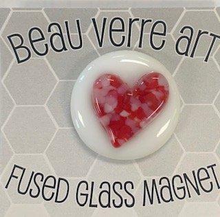Glass Fused Needleminder14 heart on white