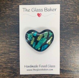 Fused Glass Heart Needleminder 4 black/stripe