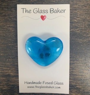 Fused Glass Heart Needleminder 2 (turq)