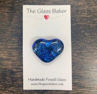Fused Glass Heart Needleminder 11 small royal