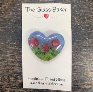 Fused Glass Heart Needleminder 3 (red poppy)