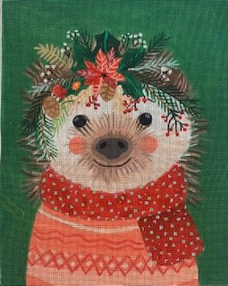 Christmas Squad - Hedgehog on Forest Green