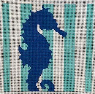 Seahorse Stencil on Aqua/white Stripe