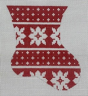 Red and White Floral Mini Stocking