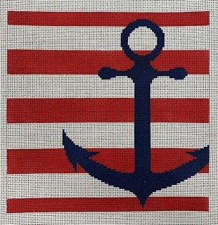 Anchor Stencil/Red Stripes