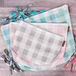 Small Grey Gingham Mesh Bag