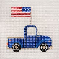 Blue Pickup with Flag