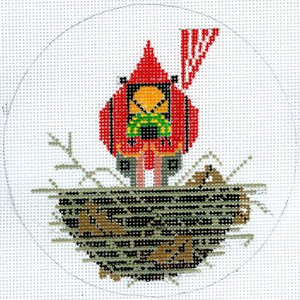 Cardinal Cradle Ornament with Stitch Guide