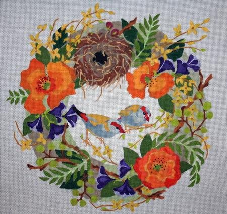 Finches in Spring Wreath
