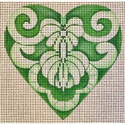 Green Scroll Heart