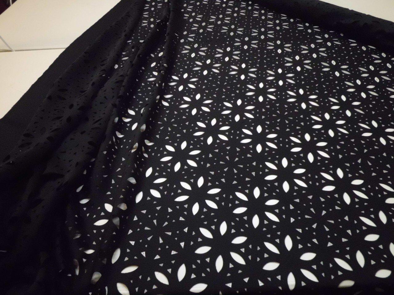 Trina Turk Laser Cut Scuba Knit in Black