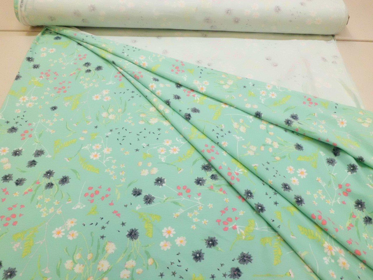 Art Gallery Cotton & Spandex Knit Floral Print in Aqua
