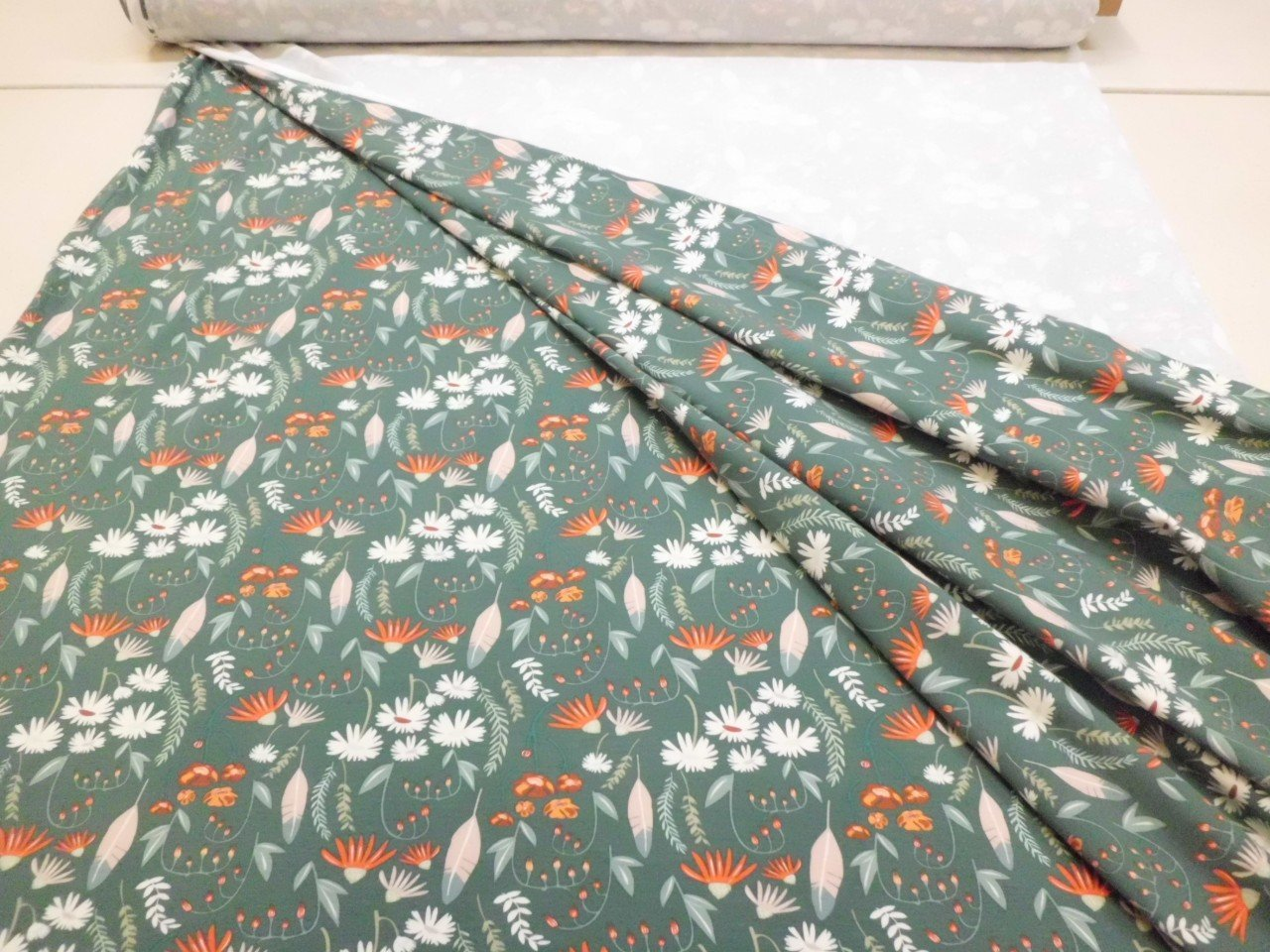 Art Gallery Cotton & Spandex Knit Floral Print in French Green