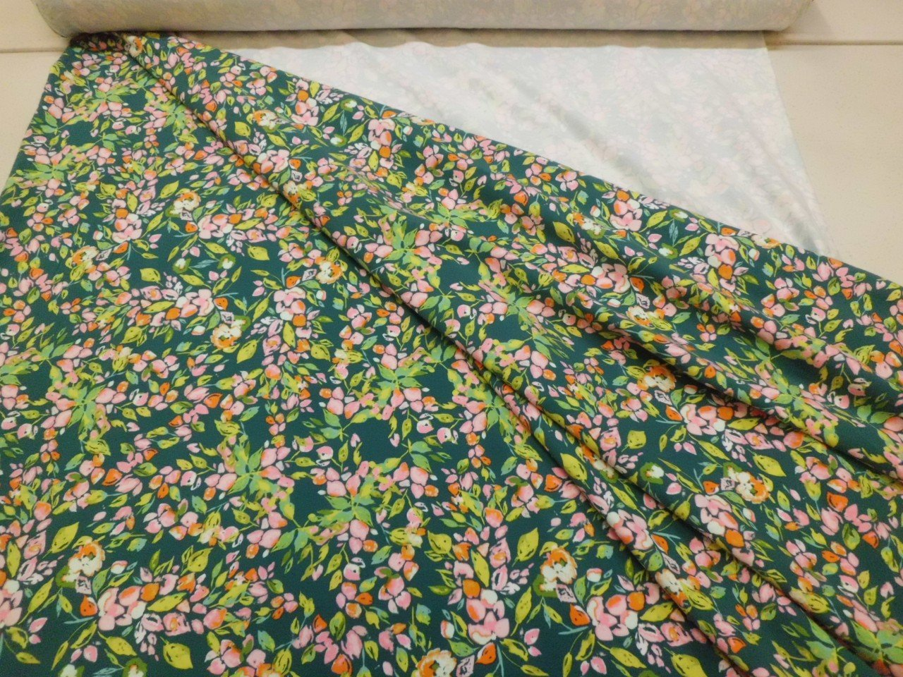 Art Gallery Cotton & Spandex Knit Floral Print in Evergreen Green