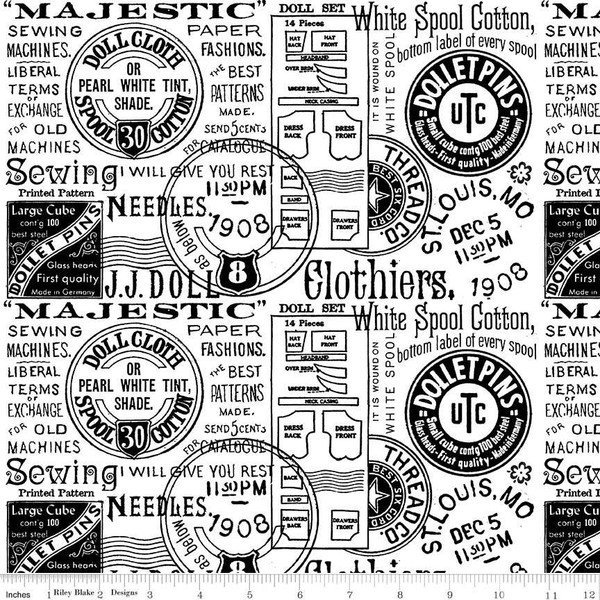 108in Wide Backing - Paperdoll - Text - White - Quilt Backing - Joy Studio - Riley Blake - WB7563-WHITE
