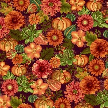 Fall Festival - Aubergine Flowers - Floral - Fall - Jennifer Brinley - Studio E - 4266S-89 - 703081206902