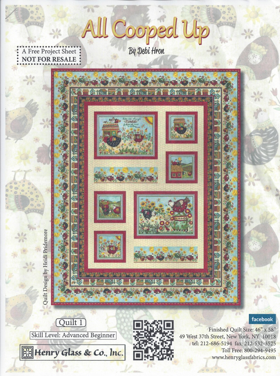 All Cooped Up - Debi Hron - Henry Glass & Co. Inc. - Size 46 X 58 - 100-8707