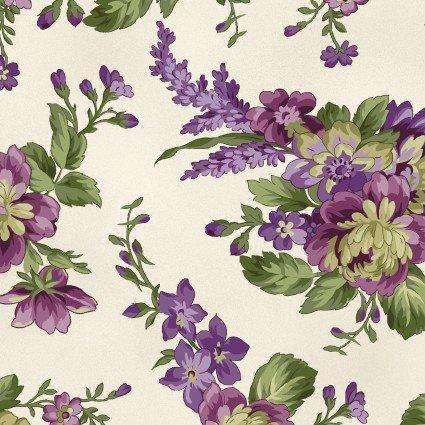Aubergine - Ecru Large Floral Print - Maywood Studio - MAS9152-E - 714329953670