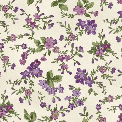 Aubergine - Ecru Small Floral Print - Maywood Studio - MAS9153-E - 714329681955