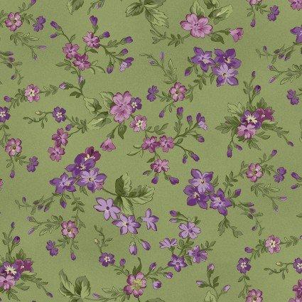 Aubergine - Green Floral Small Print - Maywood Studio - MAS9153-G - 714329801964