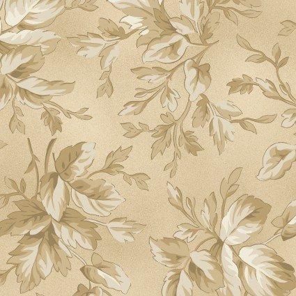 Aubergine - Tan Leaves Print - Maywood Studio - MAS9154-T - 714329897875
