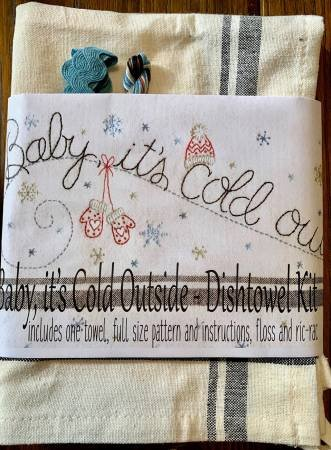 Baby It's Cold Outside Dishtowel Embroidery Kit - Bareroots - BR250K