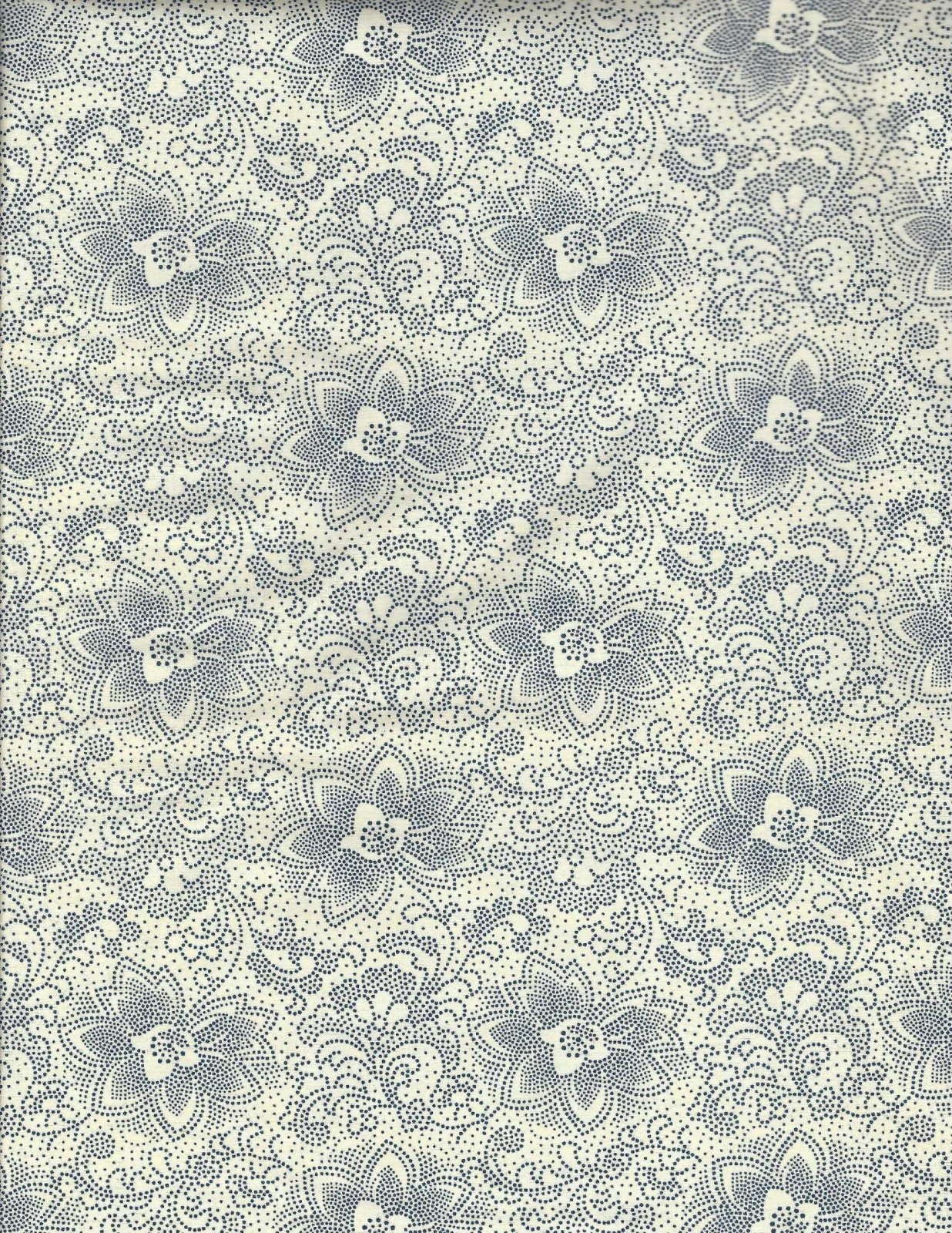 Basic Beauties for P & B Textiles Off White with Blue Floral Print BABE 008EN