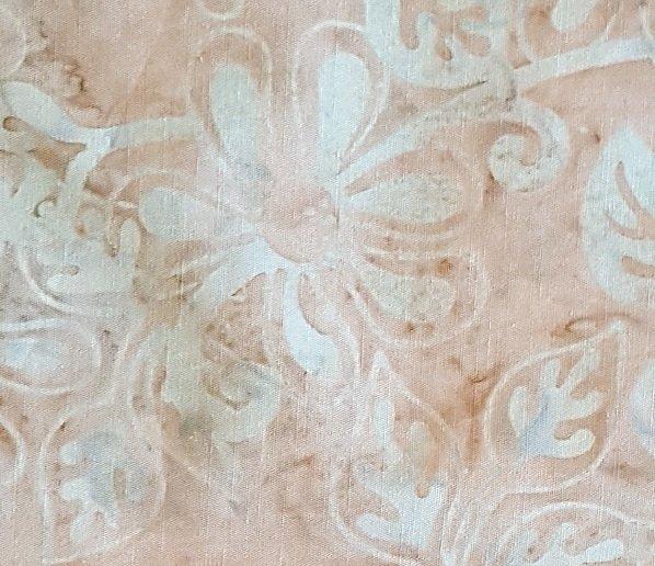 Batik Textiles - Grey Batik with Lt blue floral - print 2523