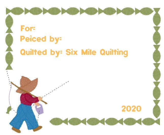 Quilting Label - Fisherman Fred - Embroidered -  size 6.37(w) x 4.86(h)
