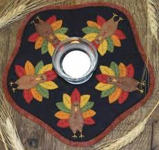 Candle Mat Turkeys - Bareroots - Wool Kit