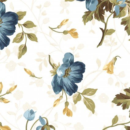 English Countryside - Ecru Background Navy Floral - Maywood Studio - MAS9161- 714329940076