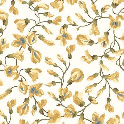 English Countryside - Ecru & Gold Small Floral - Maywood Studio - MAS9164-E - 714329838489