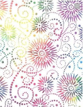 Essentials - 108 Wide Backing - White - Multi - Flower Burst - Wilmington Fabrics - 001054002084 154 - 1533171226