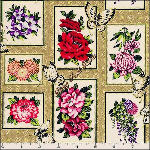 Asian Garden Patch Metallic - Fabri Quilt - 112 25621