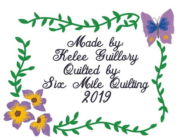 Floral & Butterfly - Quilt label - 7.5 x 6 - Embroidered