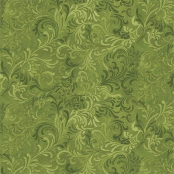 108in Wide Backing - Green Flourish - Wilmington Prints - 6608