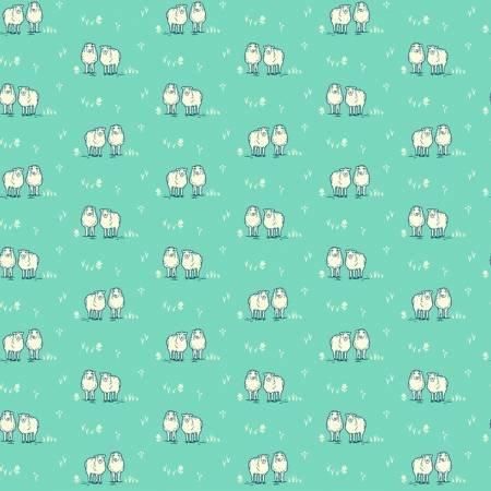 Homestead Life - Aqua Hey Ewe - 51522-9 - Judy Jarvi - Windham Fabrics